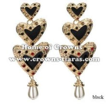 Heart Shaped Large Alloy Crystal Earrings